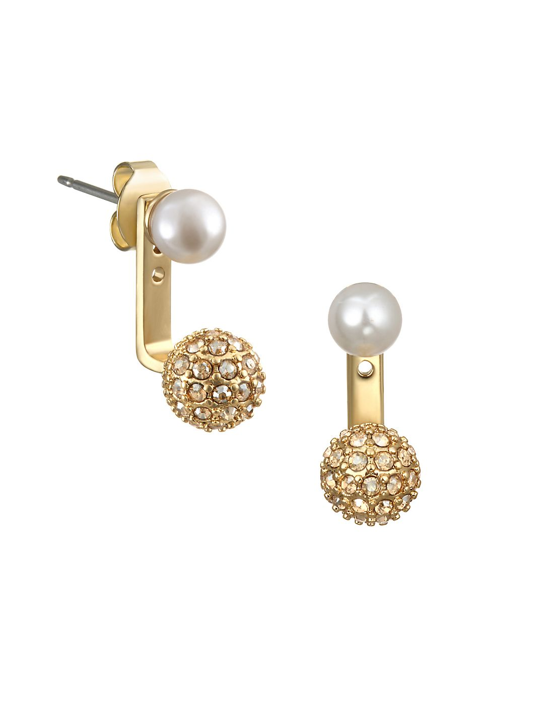 Faux Pearl, Swarovski Crystal and Crystal Jacket Earrings