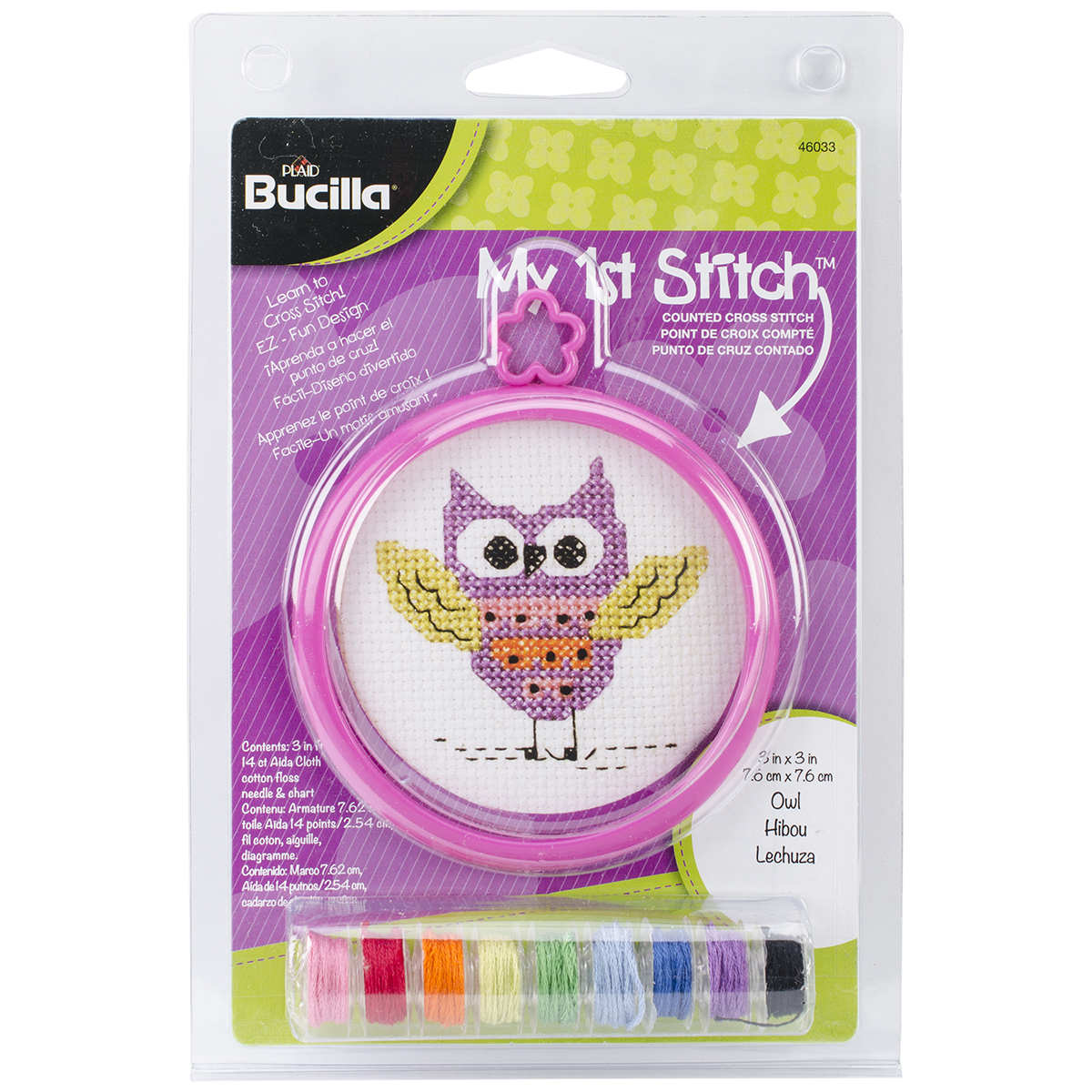 "My 1st Stitch Owl Mini Counted Cross Stitch Kit, 3"" Round, 14-Count"