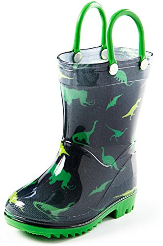 Puddle Play Kids Girls Bumble Bee Printed Waterproof Easy-On Rubber Rain Boots Toddler//Little Kids /