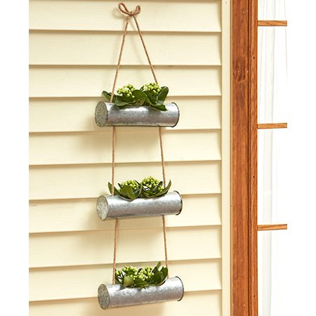 Galvanized Planter 3 Tier Hanging Planter Walmart Com