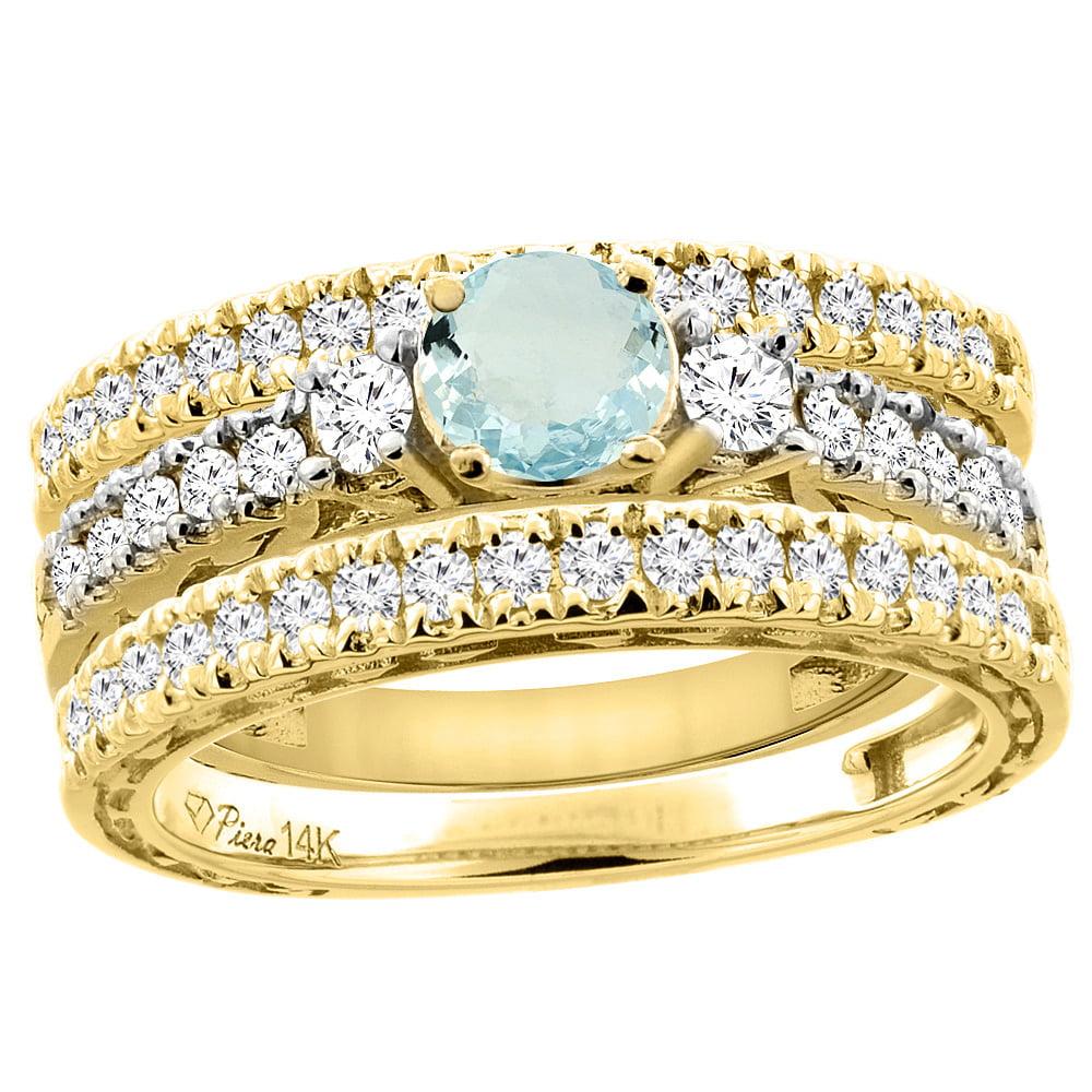 14K Yellow Gold Diamond Natural Aquamarine Engagement 3-pc Ring Set Engraved Round 6 mm, size 5.5 by Gabriella Gold