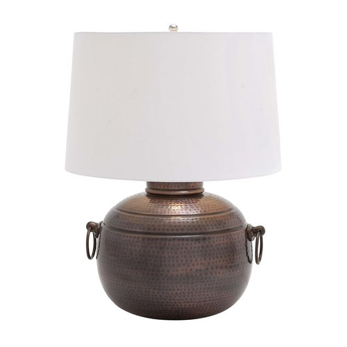 Uma Hammered Metal Table Lamp With Decorative Ring Latches Walmart Com