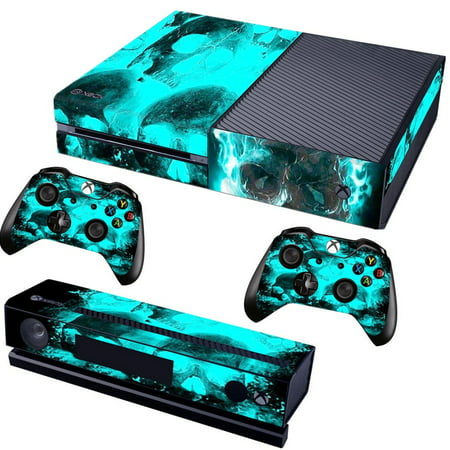 Blue Skull - Skin Bundle Decal Style Skin fits for Microsoft XBOX One Console, Kinect and 2 (Xbox 360 With Kinect And Two Controllers)