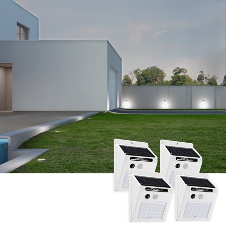 20 LED 320lm Outdoor LED Solar Motion Sensor Lights, Wireless Outdoor Wall Lights, White, Pack of 4