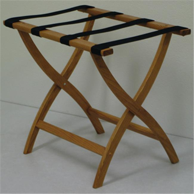 Wooden Mallet LR2-MOBLK Designer Curve Leg Luggage Rack in Medium Oak with Black Webbing - 3.5 in.