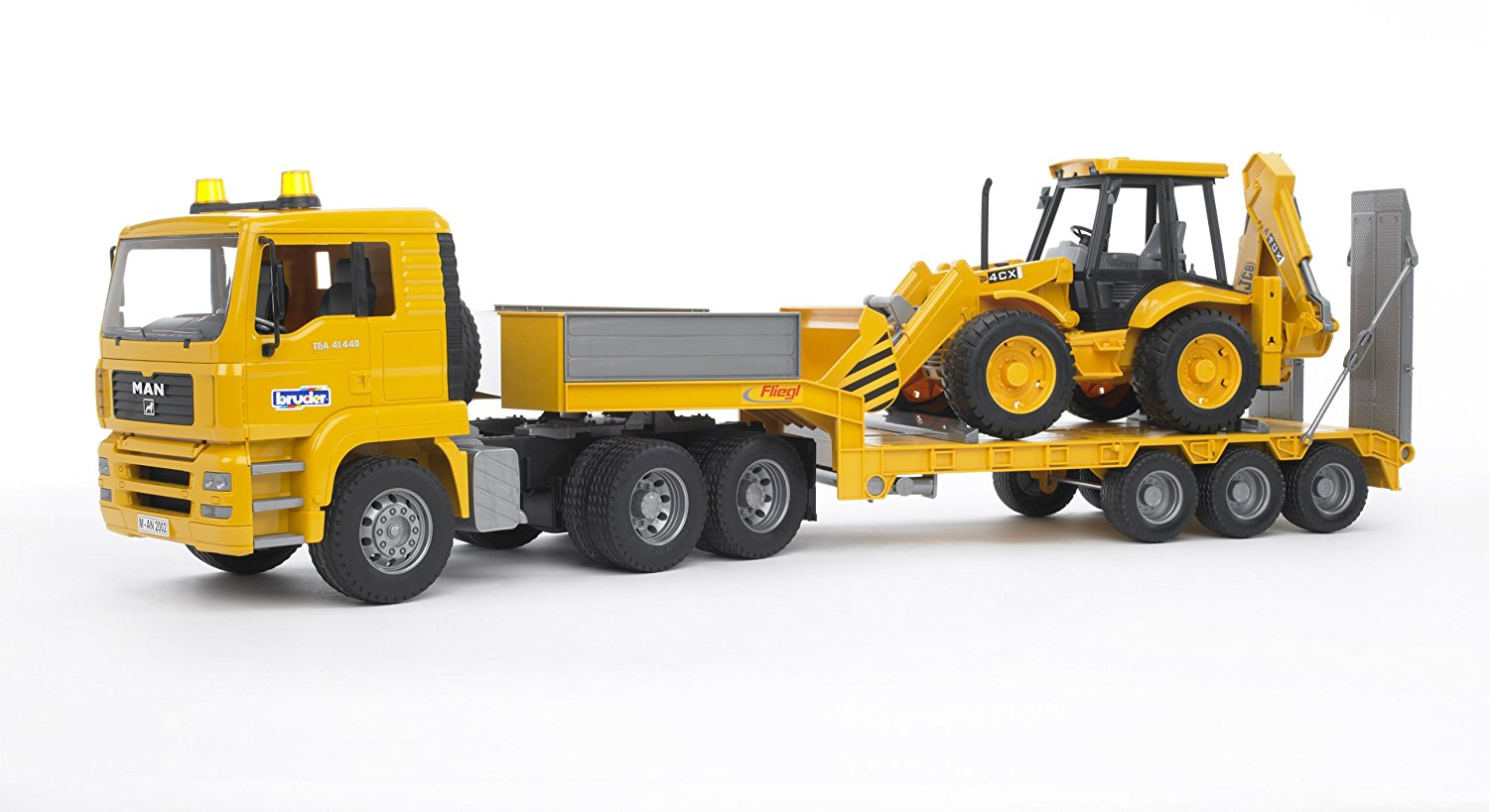 Bruder Toys Man TGA Low Loader Truck With JCB Backhoe Loader by
