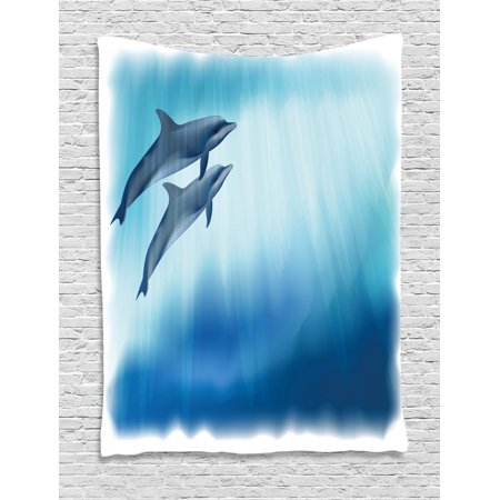 Dolphin Tapestry, Underwater Scene with Two Ocean Mammals in Watercolor Style Swimming Image, Wall Hanging for Bedroom Living Room Dorm Decor, 40W X 60L Inches, Dark Blue Pale Blue, by Ambesonne Underwater Ocean Scenes