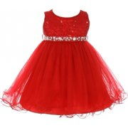 BluNight Collection Lace Decorated Sequins Rhinestone Belt Baby Little Flower Girls Dresses Red M