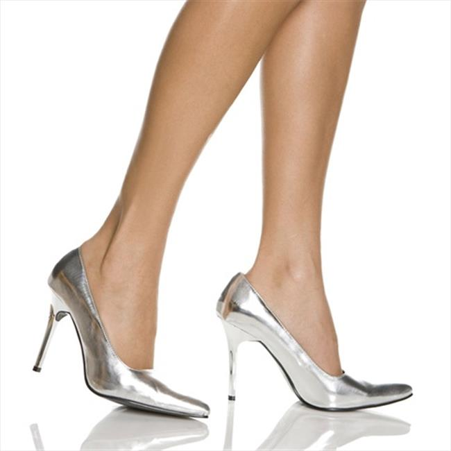 Highest Heel CLASSIC-SMET-6 4 in. Classic Plain Pump in Silver Metallic - Size 6 - image 1 of 1