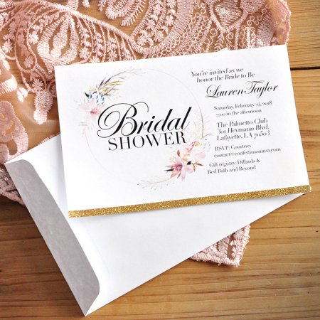 Bridal Shower Invitations with Envelopes. We Print, Cut, Glue and Ship to You in 1-3 Business Days. Floral Bridal Shower Invitations. - Cute Invitations