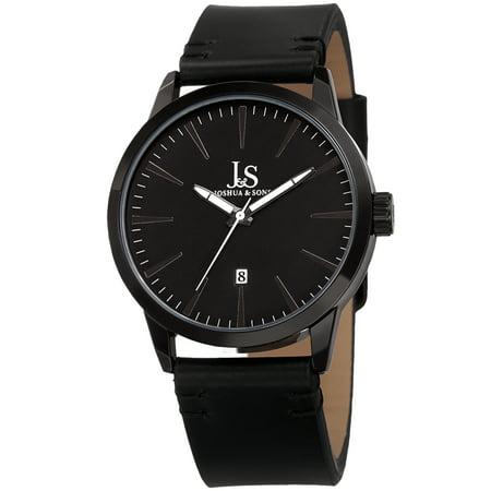 Joshua & Sons Men's Swiss Quartz Glossy Dial Contrast Stitching Leather Black Strap Watch ()