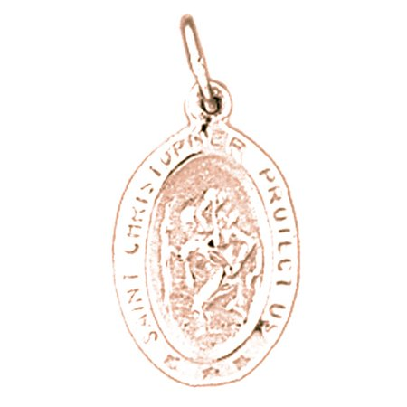 Rose Gold Plated 925 Sterling Silver 21Mm Saint Christopher Coin Charm Pendant  Approx  1 02 Grams