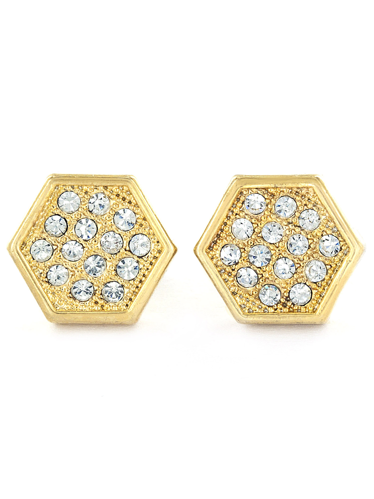 Gold Tone Micro Pave Crystal Hexagon Stud Post Earring