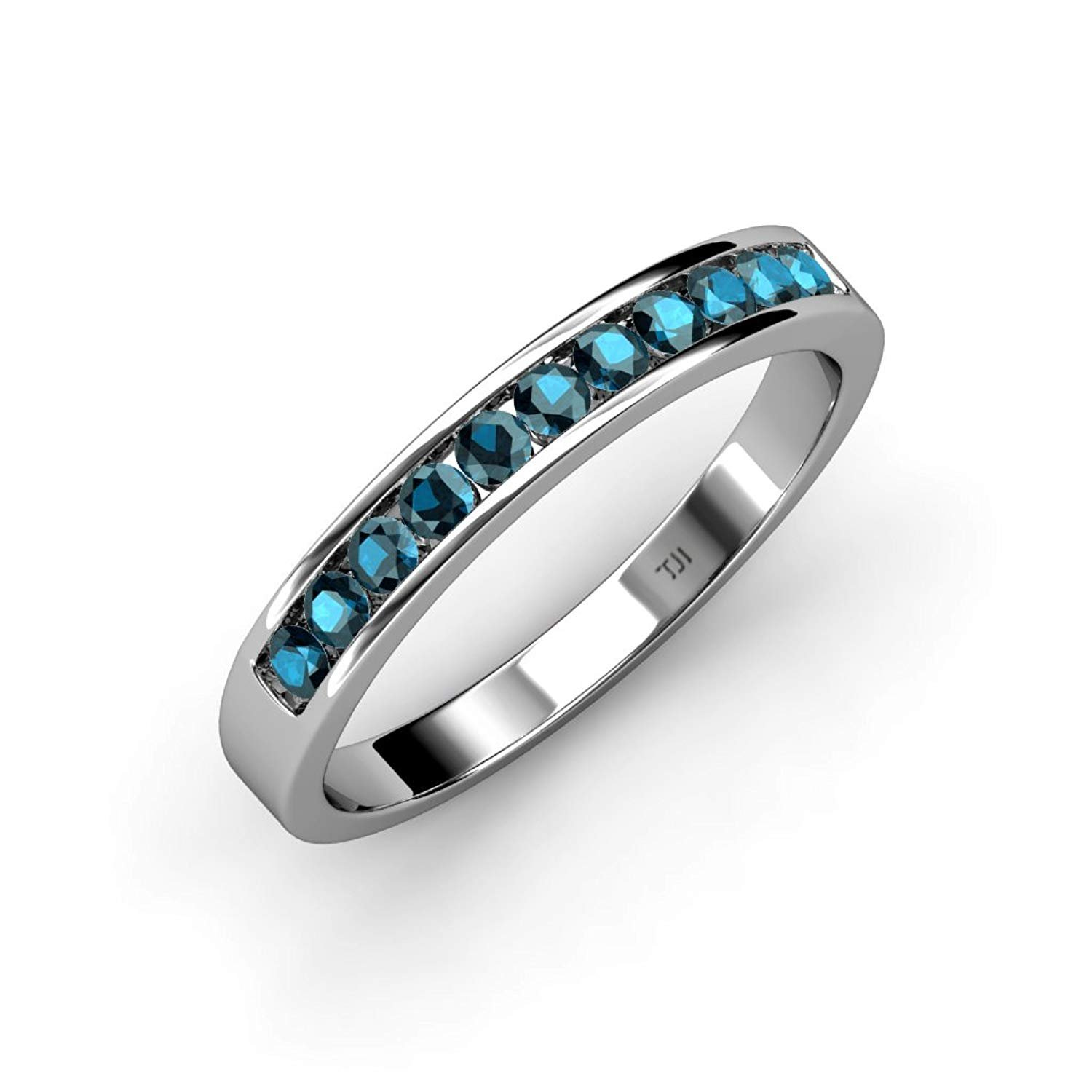 Treated Blue Diamond 11 Stone Channel Set Wedding Band 0.60 ct tw in 18K White Gold.size 5.5 by TriJewels