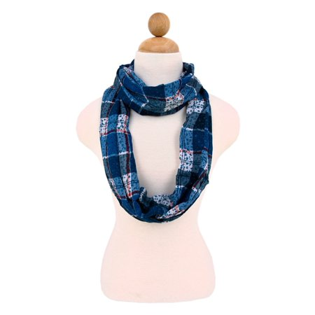 Plaid Stars Print Infinity Loop Fashion Scarf ()