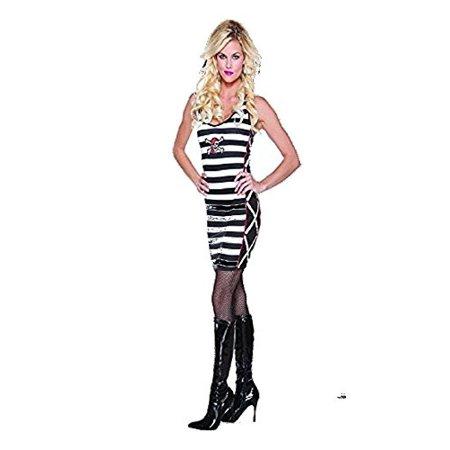 Halloween Wholesalers Pirate Dress - Black & White Stripes](Black White Striped Dress Halloween)