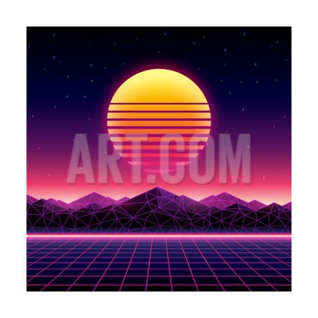 Retro Futuristic Background 1980S Style. Digital Landscape in a Cyber World. Retro Wave Music Album Print Wall Art By More Trendy Design here