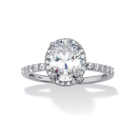 Oval-Cut Created White Sapphire and Diamond Halo Engagement Ring 2.80 TCW in Platinum over Sterling - Diamond Platinum Engagment Ring Setting