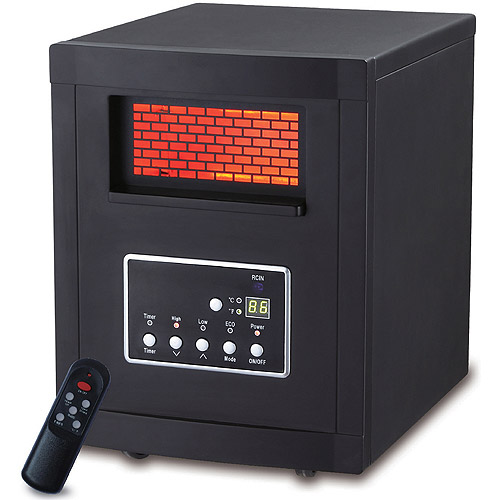 LifeSmart LS-REC-4-PL-OZ Infrared Heater, 4-Element, Black, Factory-Reconditioned