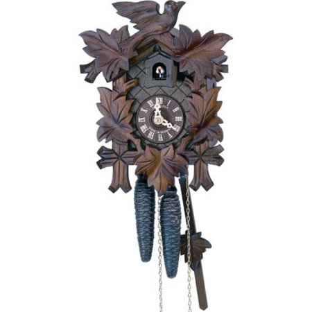 - Anton Schneider 9 Inch Five Leaves and One Bird Black Forest Cuckoo Clock