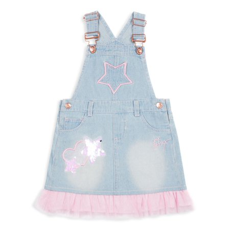 Little Girl's Appliqué Denim Pinafore Dress (Betsey Johnson Womens Dress)