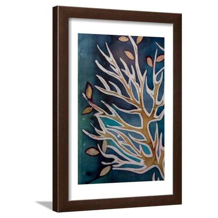 Golden Tree Branches with Leaves, Turquoise, Hot Batik, Background Texture, Handmade on Silk, Abstr Framed Print Wall Art By Sergey Kozienko