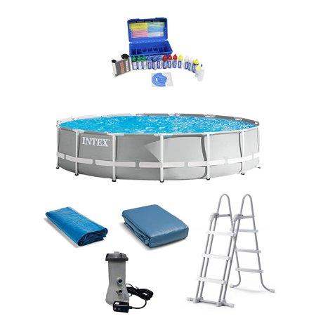 Intex 15 Foot Prism Frame Above Ground Pool w/ Taylor Pool Water Test Kit