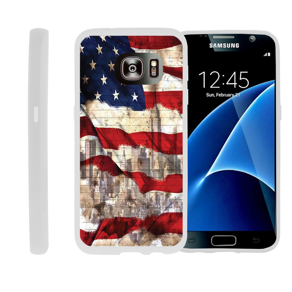 Flexible Case for Samsung Galaxy S6 Edge | SM-G925 Case [ Flex Force ] Lightweight Flexible Phone Case - American Flag NY
