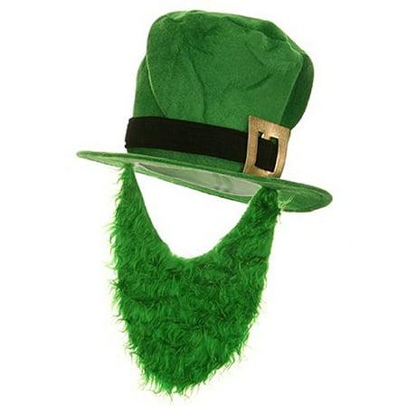 Green Velvet Top Hat Beard Leprechaun Irish St. Patricks Day Costume Accessory
