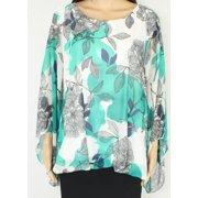 Womens Blouse Plus Scoop Neck Floral Kimono-Sleeve 3X