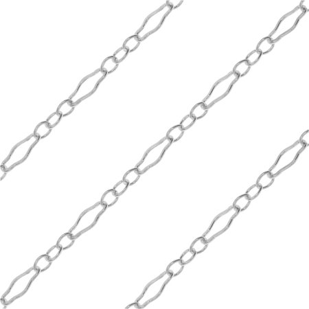 Bulk Long Short Cable Chain, with Hammered Links 4.5x2.3mm, By The Foot, Sterling - Hammered Oval Link