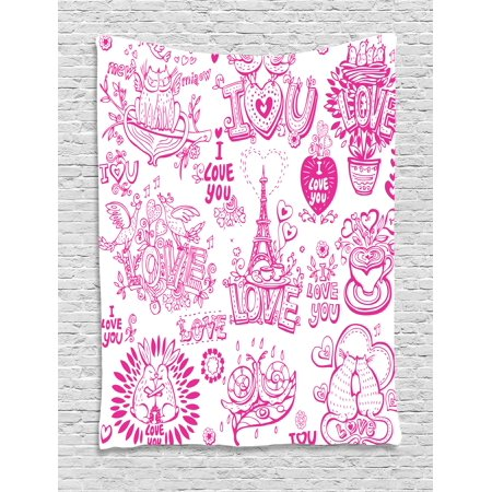 Doodle Tapestry, I Love You Valenties Design Hugging Touching Singing Hearts Coffee Expressing Affection, Wall Hanging for Bedroom Living Room Dorm Decor, 40W X 60L Inches, Pink, by