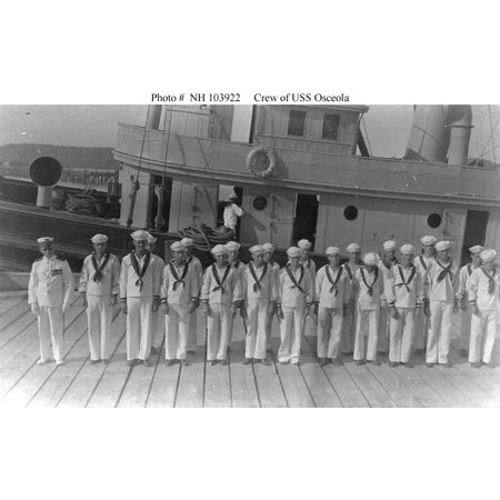 Osceola (Fleet Tug # 47) crew members pose beside the ship, circa the late 1910s or early 1920s. The Poster Print 24 x 36 (Late Member)