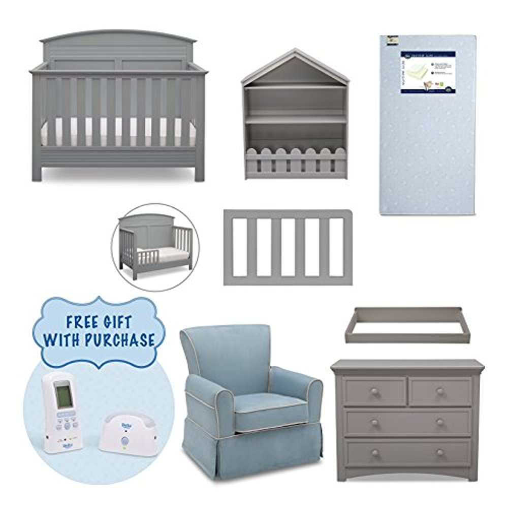 Serta Ashland 7-Piece Nursery Furniture Set with FREE Baby Monitor (ships separately) (Convertible Crib, Toddler Rail, 4-Drawer Dresser, Changing Top, Bookcase, Crib Mattress and Glider) (Grey)
