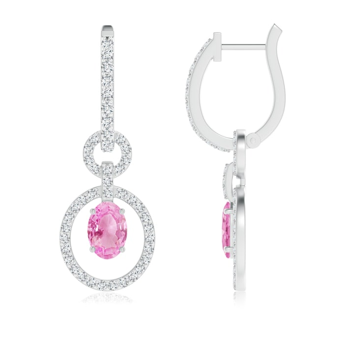 Angara Floating Oval Ruby and Diamond Dangle Hoop Earrings in Platinum 9q47DWYv