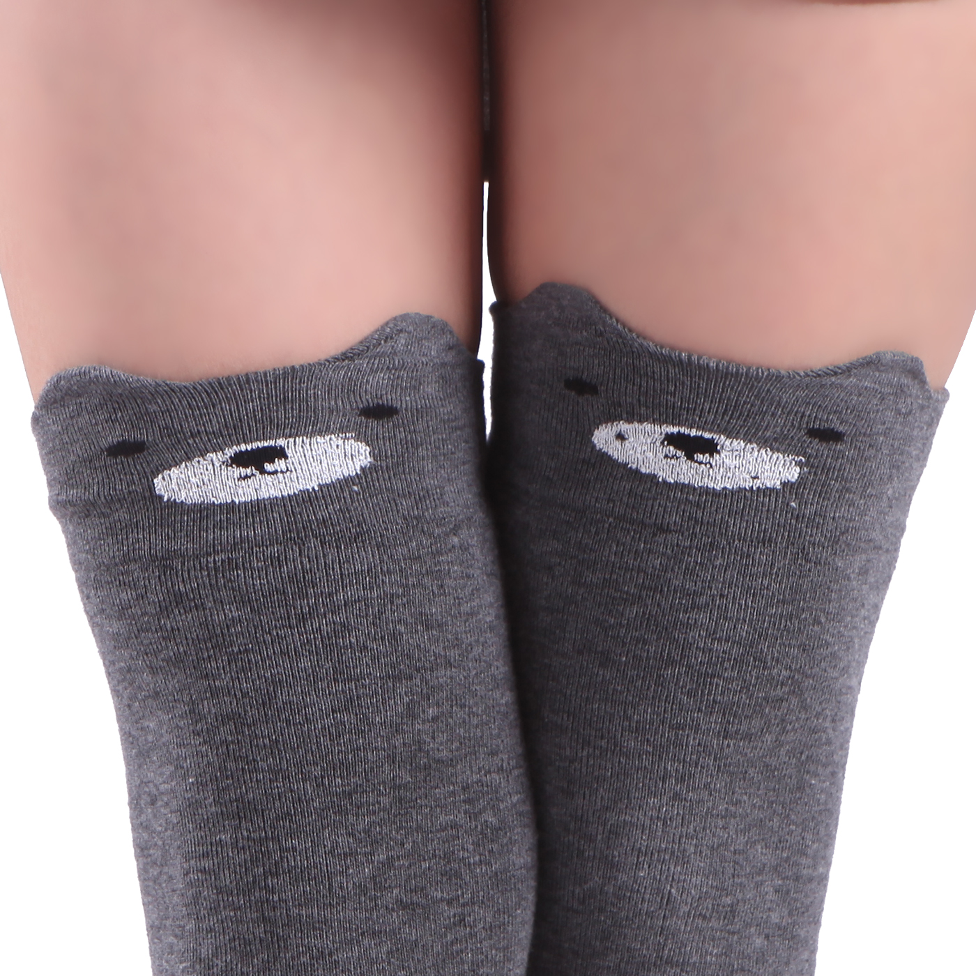 HDE Women's Animal Over Knee Thigh High Socks Stockings with Ears (Gray Bear)