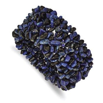 Lex & Lu Chisel Lapis Lazuli and Black Tourmaline Wide Stretch Bracelet