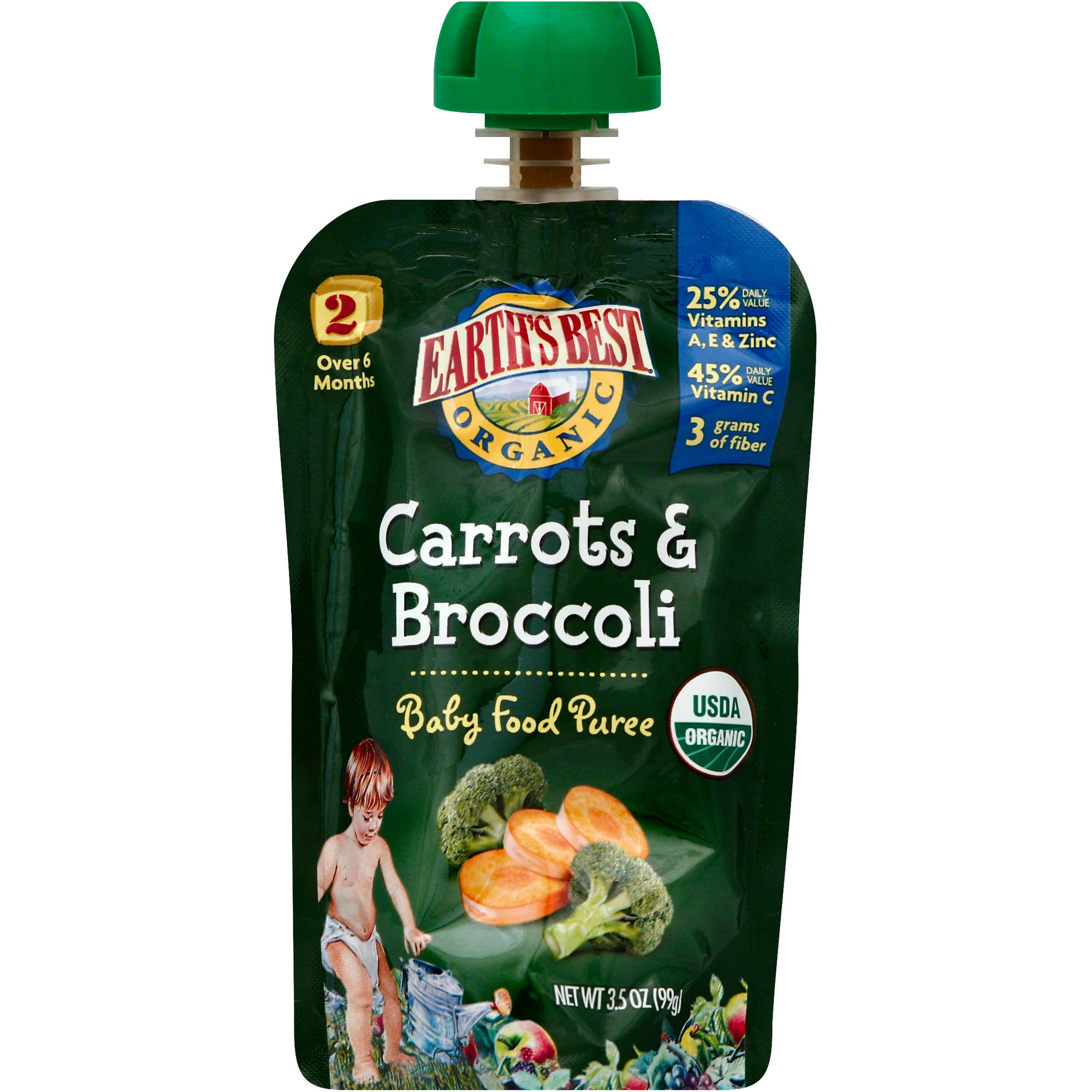 Earth's Best Organic Stage 2 Carrots & Broccoli Baby Food Puree, 3.5 oz