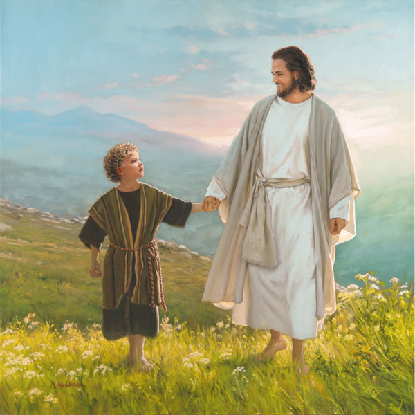"Beautiful Jesus ""Walk Beside Me"" Religious Print; One 12x12in Unframed Paper Poster"