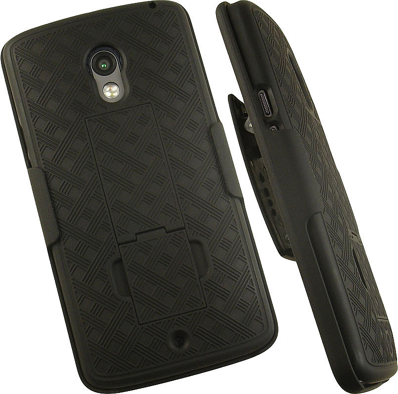 Droid Maxx-2 Clip Case, Nakedcellphone Black Kickstand Cover + Belt Clip Holster for Motorola Droid Maxx 2 (XT1565 XT1561 XT1562 XT1563) (aka Moto X Play)