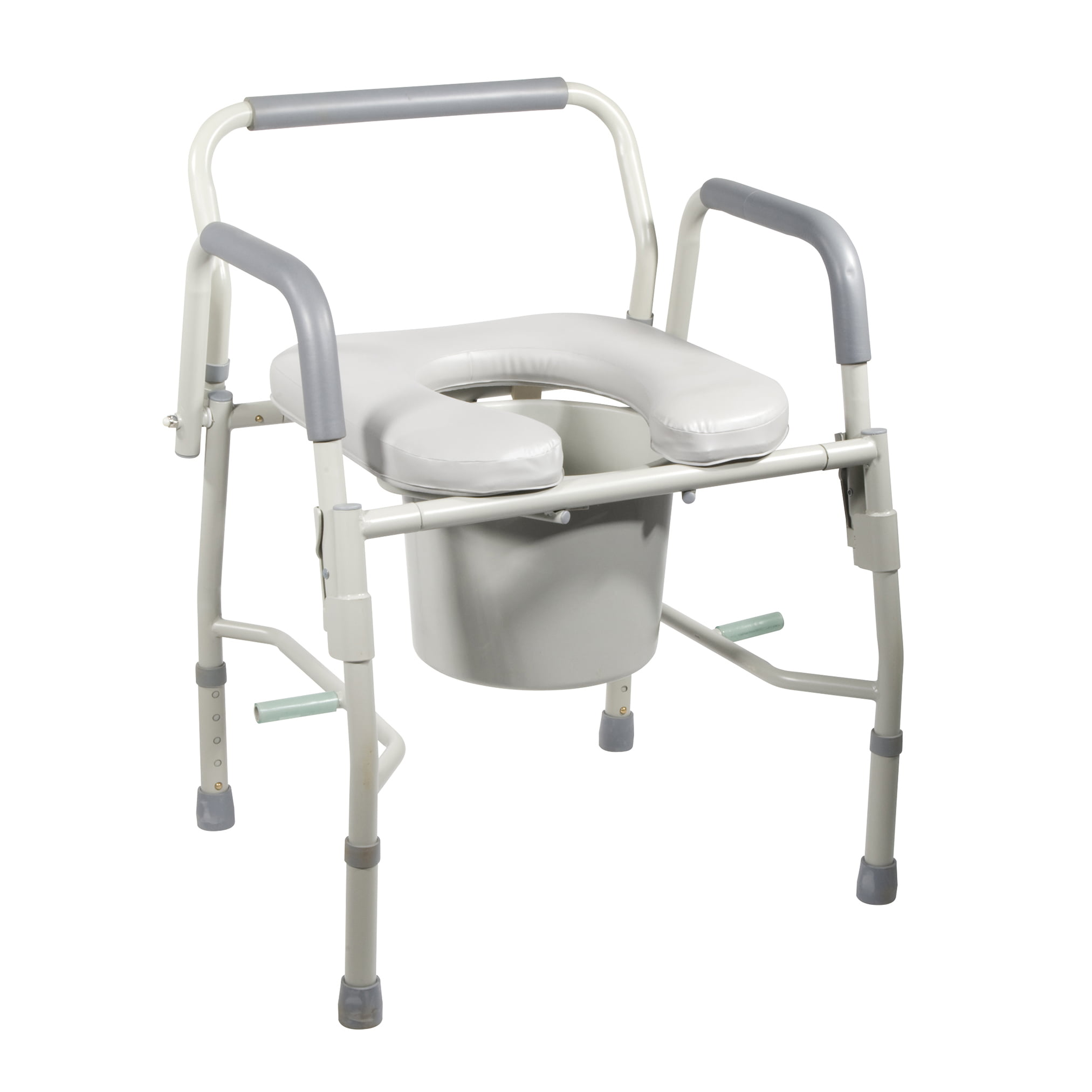 Drive Medical Steel Drop Arm Bedside Commode with Padded Seat and ...