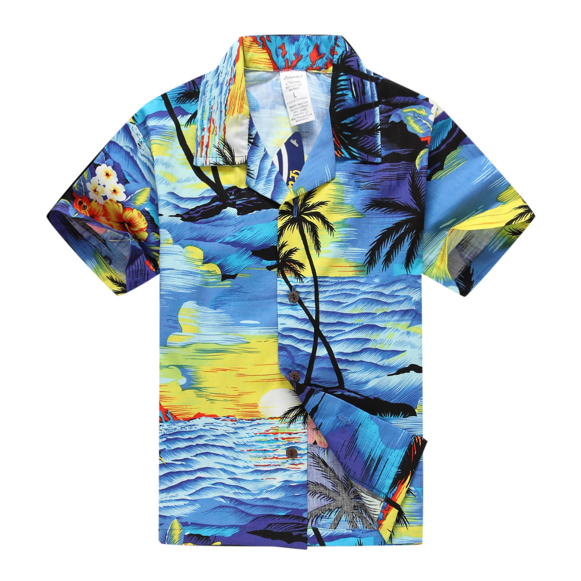 Boy Hawaiian Aloha Luau Shirt/Cabana Set in Blue Sunset