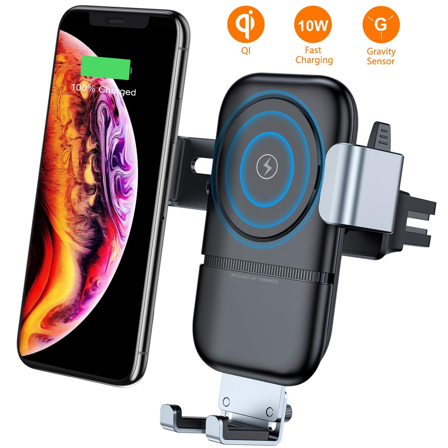 10W Fast Wireless Charger with Suction Mount iPhone 8 Plus//X//XS Auto-Clamp Qi Certified Car Charger Air Vent Phone Holder Compatible with Samsung Galaxy S9// S9+//S8//S8+ Wireless Charger Car Mount