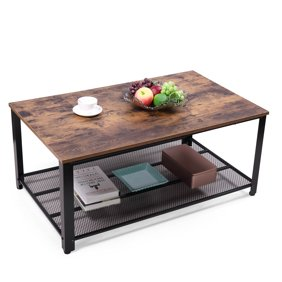 Traditional Faux Leather Upholstered Coffee Table With Drawers