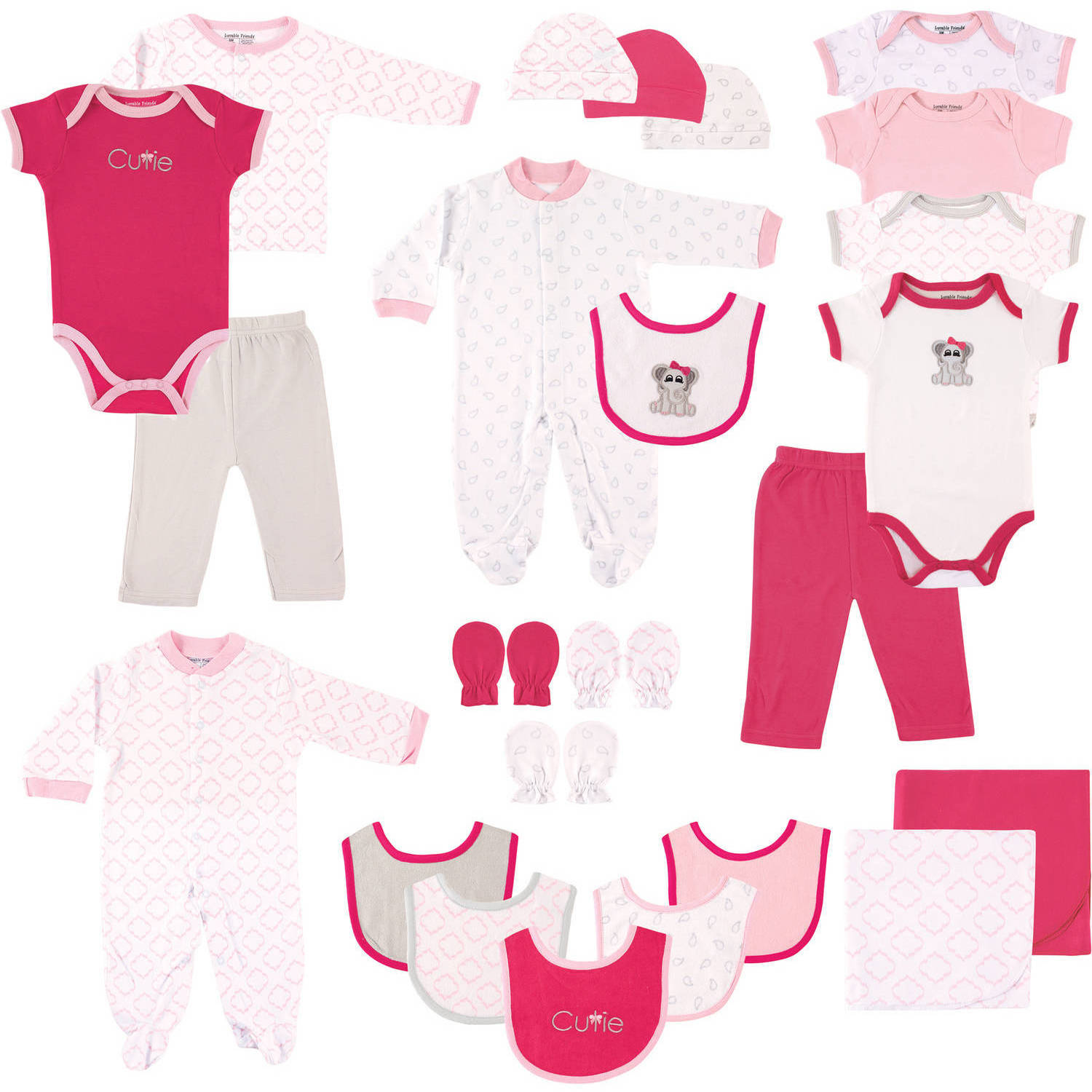 Luvable Friends Newborn Baby Girl Deluxe Gift Cube 24-Piece Set, Elephant