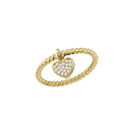 Gold Diamond Rope Ring (10kt Yellow Gold Womens Round Diamond Heart Dangle Rope Stackable Band Ring 1/10)