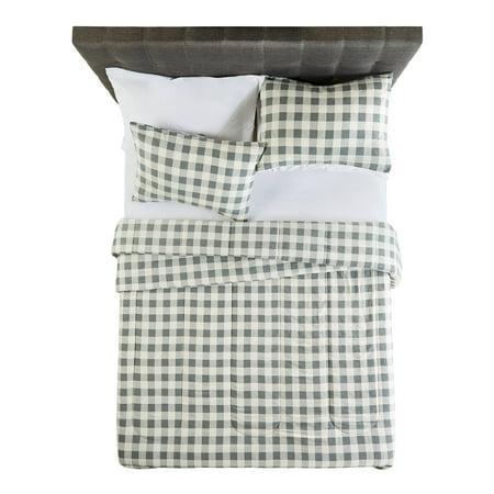 Buffalo Plaid Flannel - Mainstays Flannel Buffalo Grey Plaid Comforter Set