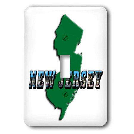 3dRose State Map of New Jersey and Picture Text, 2 Plug Outlet (New Jersey Outlets Mall)