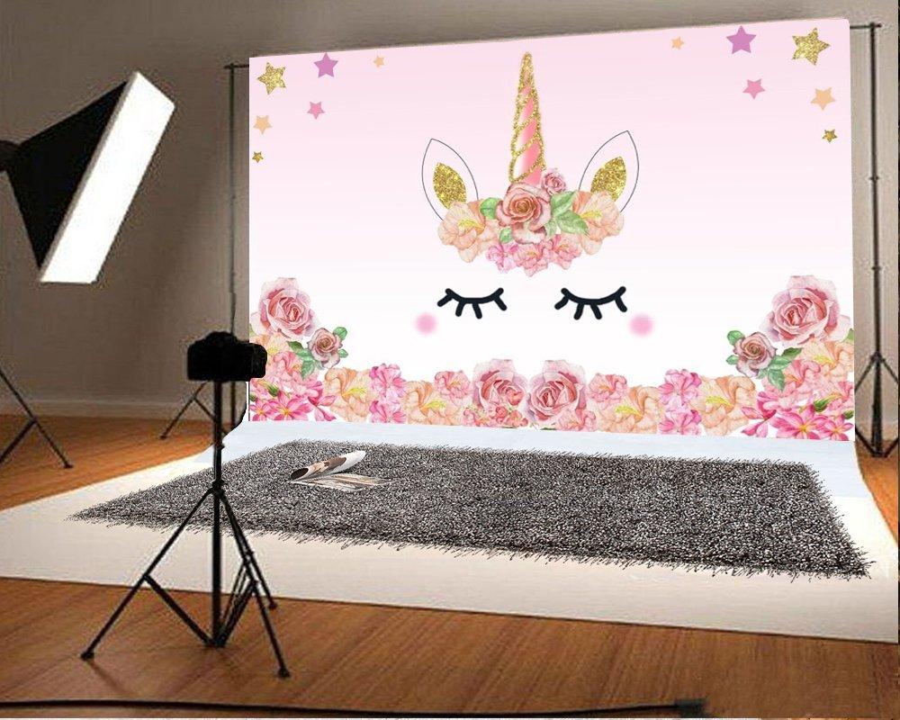 Unicorn Baby Shower Birthday Party Photo Backdrop Photography Background 7x5Ft