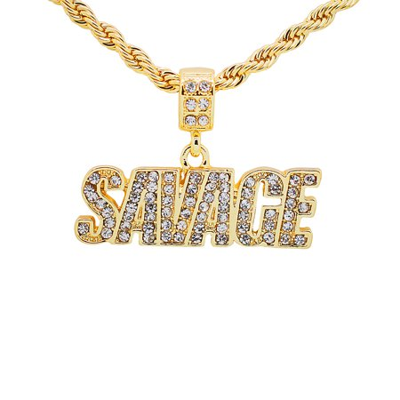 14K Gold Plated Hip Hop Bling Iced Out Savage Pendant with 24